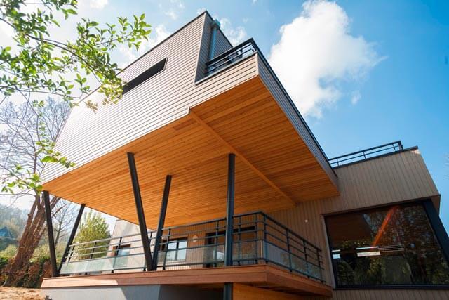 Maison ossature bois surélevée vue rdc